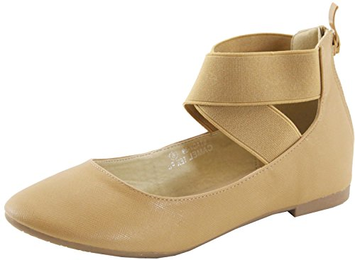 Ankle Women's Toe Strappy Ballet Flat Cross Marie Over Round Camel Closed Bella 7xRH0B
