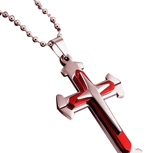 isex Stainless Steel Pendant Necklace Cross Chain for Women Men Easter Gift (Red) ()