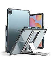 Ringke Fusion with Outstanding [Combo Pack] Transparent Back Samsung Galaxy Tab S6 Lite Case with Overcharge Protection Pencil Holder, Stand Spring-Action Kickstand-Clear (smoke black)