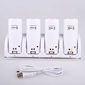 Wii Remote 4 Port Charging Dock Station+4x Battery Pack