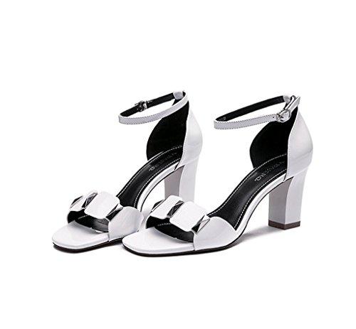38 alto Elegantes grueso Blanco zapatos verano femenino de Color con Negro tacón tacón Tamaño g6S7x6