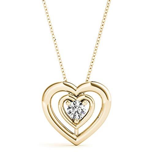 14 KT Yellow Gold 0.11 CT Round Solitaire Heart Diamond Pendant Necklace Amcor Design (0.11 Ct Diamond Pendant)