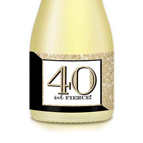 40th FORTIETH BIRTHDAY Party Gift Decorating Idea Mini Champagne & Wine Bottle Labels FORTY & FIERCE! Set of 20 Decals Mother, Wife, Sister, Auntie, Female Friend, Celebrate Woman 40 Years Old (Twenty Bottles)