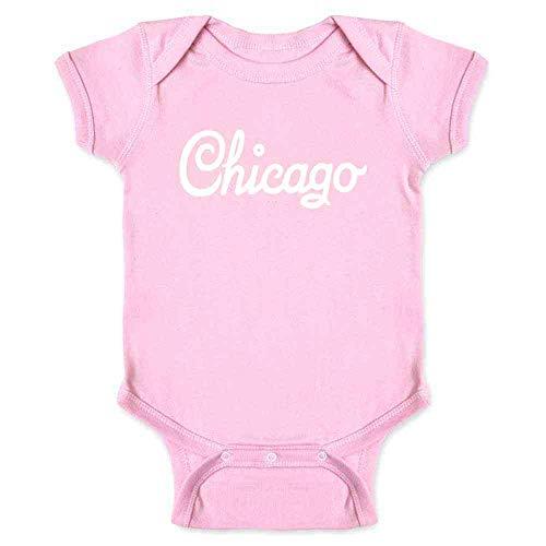 Chicago Illinois Retro Vintage Travel Pink 6M Infant Bodysuit