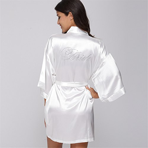 True Meaning Comfortable Fashion Silk Bridesmaid Bride Robe Sexy Women Short Satin Wedding Kimono Robes Sleepwear Nightgown Dress Woman Bathrobe (Dillards Robes)