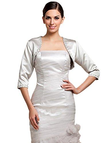 Anne's Accessory Womens Satin Evening Jacket Sequins & Beading Bolero Shrug A37 8