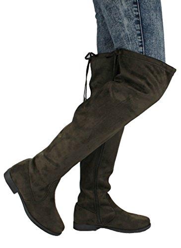 Jjf Schoenen Dames V-hi Fashion Slouchy Ronde Neus Faux Suede Schuine Manchet Over De Knie Platte Laarzen Green_1