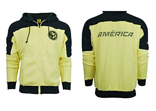 Club America Hoodie Youth boys Zip Front Fleece Sweatshirt Jacket yellow blue (YS) (Kids Club Jacket America)