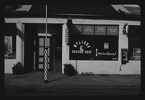 (Vintography 8 x 12 BW Photo of: Mustang Barber Shop, Billings, Montana 2004 Roadside America Margolies, John 32x )