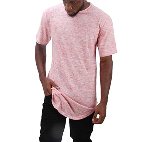 Sale Pink Ties Solid Neckties (AmyDong Hot Sale Men Tee Slim Fit O Neck Short Sleeve Muscle Casual Tops Pure Blouse Shirts Mens Solid Color Slim T-Shirt (2XL, Pink))