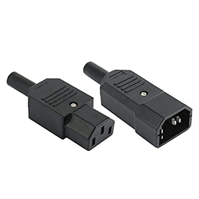 uxcell AC 250V 10A Rewireable IEC C13 C14 Female Male Inline Plug Connector Adapter