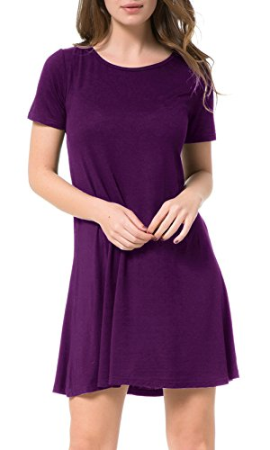 Tandisk Women Short Sleeve Casual Loose Swing Basic Cotton Simple T-Shirt Dress(L, Crew Neck-Purple)