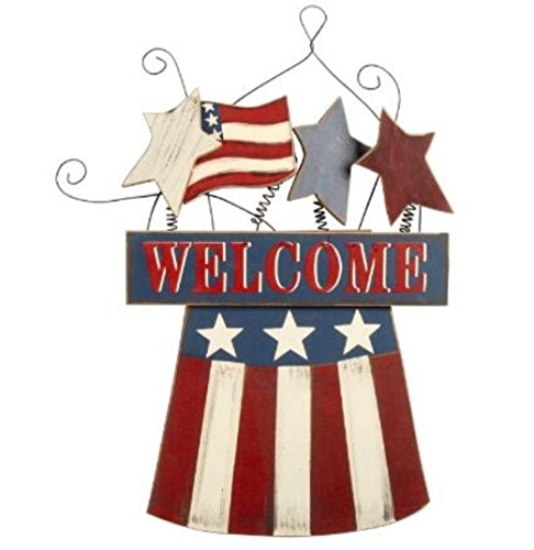 """Patriotic Wood """"Welcome"""" Uncle Sam's Hat Welcome Sign Wall Hanger 17"""