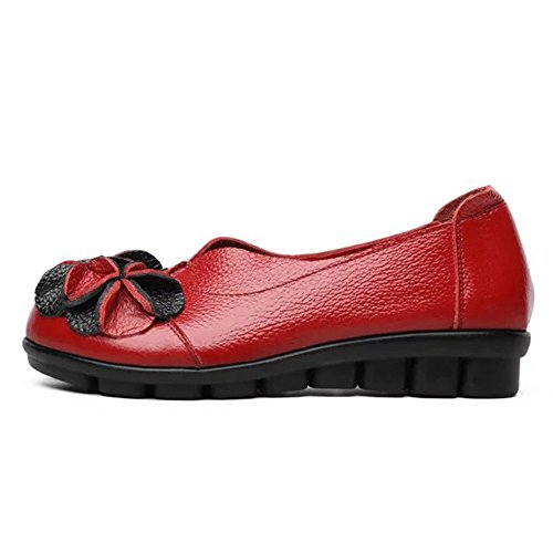 Sunrolan Mujeres Handwork Multi-style Leather Fall Nuevo Patrón Plano De Flores Slip-on Loafer Zapatos Style4-red