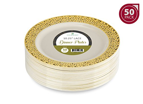 Dinner Disposable Plastic Plates - Elite Selection Pack of 50 Ivory Color with Gold Lace Rim 10.25 Inch (Gold Fancy Star)