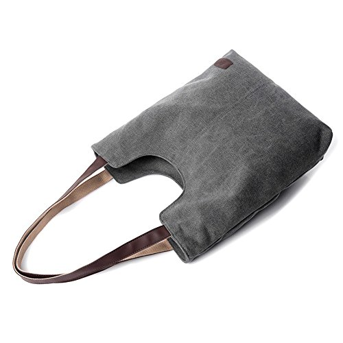 Handbag Leisure Bags Gray Shoulder Totes Crossbody Solid Bag Womens Ladies Canvas Leather Large Capacity Xuanbao Retro Female Hobo Storage Tote BSqwxp6