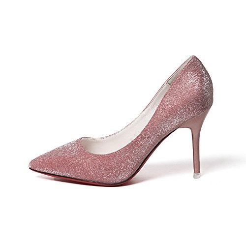 Inconnu 1To9 Sandales Compensées Femme Rose, 37.5 EU, MMSG00012