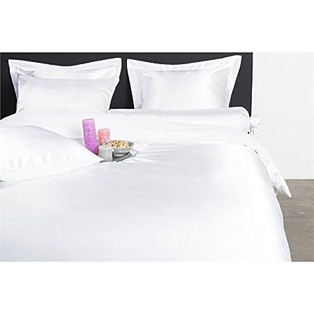 Nightlife - Bettwäsche / Bettbezüge Satin Uni White - Weiß - 140x200/220 - Mit 1 Kissenbezug 60x70 Ambianzz Bedding