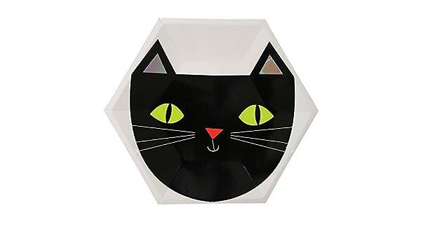 Souarts - gato negro Halloween fuentes del partido de platos de papel caliente plata bandeja desechables platos Combo: Amazon.es: Hogar