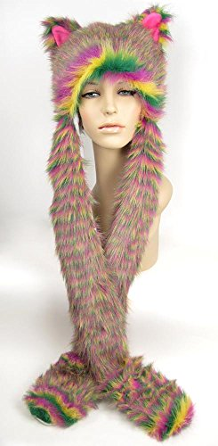 Largemouth Unisex Furry Hood Ears Hand Warmers (Neon Stripe) -