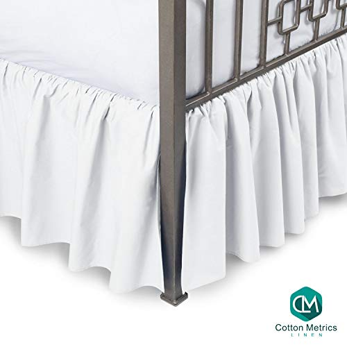 "Cotton Metrics Linen Present 800TC Hotel Quality 100% Egyptian Cotton Dust Ruffle Bed Skirt 22"" Drop Length Queen Size White Solid"