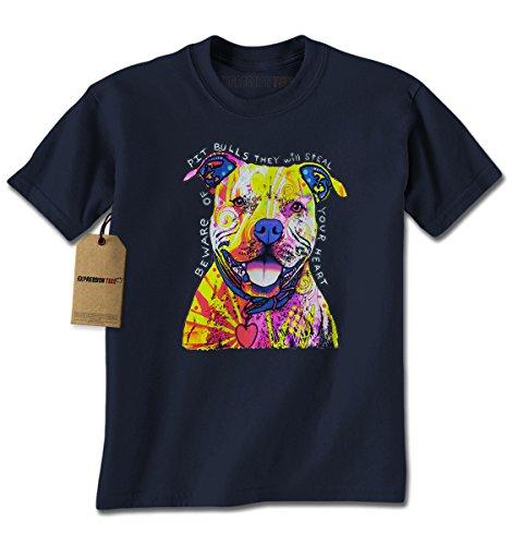[Mens Beware Of Pit Bulls T-Shirt X-Large Navy Blue] (Mens Navy Blue Bull)