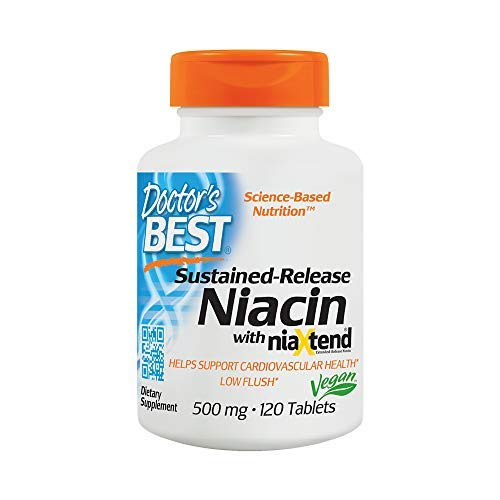 Time-Release Niacin with niaxtend Non-GMO Vegan MEGAValue 2Pack (120Tablets) UYg#Doctor's