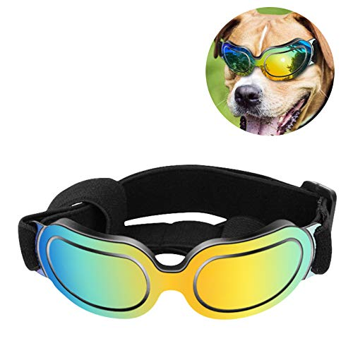 PEDOMUS Dog Sunglasses Eyewear UV Protection Waterproof Pet Goggles Pet Colorful Sunglasses(Yellow) from PEDOMUS