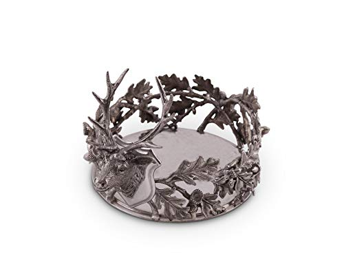 (Vagabond House Pewter Black Forest Wine Coaster; 5.25
