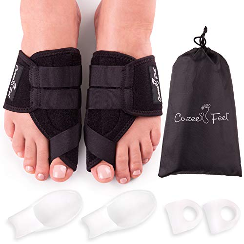 Cozee Feet Orthotic Bunion Corrector and Bunion Relief - Adjustable Big Toe Straightener with Big Toe Protectors and Overlapping Toes Spacer Correctors for Hammer Toe Foot Pain Relief Bunion Splint