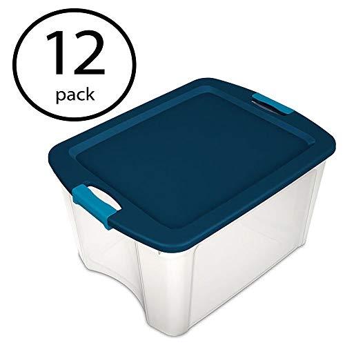 Sterilite 18 Gallon Durable Latch and Carry Storage Tote Box Container (12 Pack) (Gallon Sterilite 18 Bins Storage)
