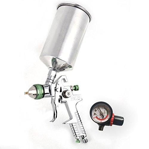 2.5mm HVLP Gravity Feed Spray Paint Gun with Air Regulator 1L Aluminum Cup