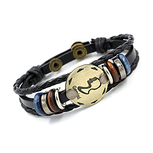 New Mens Zodiac - 12 Constellation Zodiac Sign Logo Charms Bracelet,Gift Idea for Your Beloved ones (Gemini)