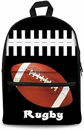 Football Print Daypack Backpack Travel Weekend Bag for Men Women Boy Girl