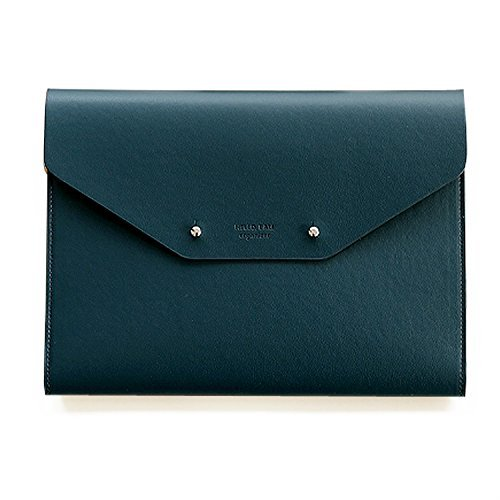 """Modern Design PU Leather Padfolio, A5 Size Writing Portfolio Includes Writing Pad, Pen holder, Card & ID Slots, Extra Pockets, Carry Case Pad Holder, 7""""X9"""" (Dark Green)"""