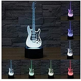 3D Illusion Guitarra electrica Lámpara luces de la noche ajustable 7 colores LED Creative…