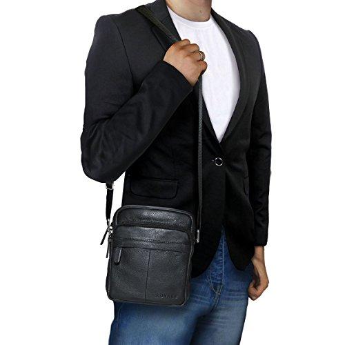 diseño en Negro cuero hombres de Negro mensajero Color negro para Bolso compacto bolsa de ROYALZ wq8fUO