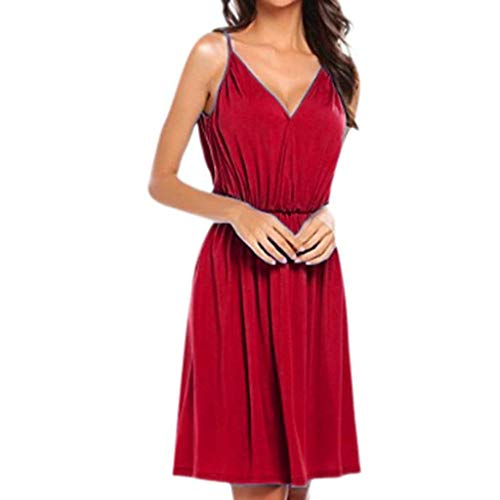 (✔ Hypothesis_X ☎ Women's Party Mini Dress, Solid Sleeveless Casual Dress Summer V Neck Spaghetti Strap Dress Red)