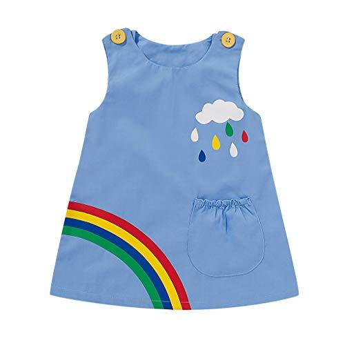 ❤Ywoow❤ Summer Girls Dresses, Girl Rainbow Printed Denim Sleeveless Princess Dress Kids Baby Dress Clothes (Blue, 6-12 Months)]()