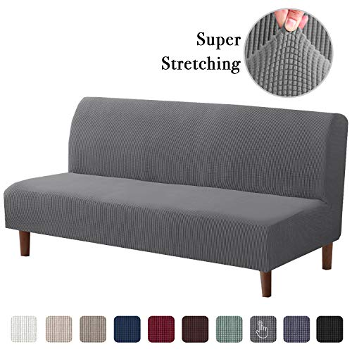 High Stretch Rich Jacquard 1-Piece Futon Cover Stretch Armless Sofa Slipcover Skid Resistant Furniture Protector Without Armrests Slipcover Stretch Sofa Cover (Futon, Charcoal Gray)