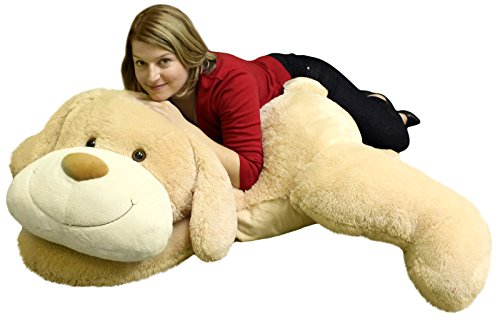Giant Stuffed Puppy Dog 5 Feet Long Squishy Soft Extremely Large Plush Animal Cream Color