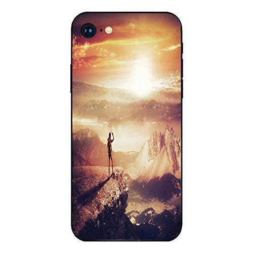 Phone Case Compatible with iphone7 iphone8 mobile phone covers phone shell Brandnew Tempered Glass Backplane,Adventure,Traveler Woman with Backpack on Mountain Surveying Sunset Adventure Photo Print,M ()