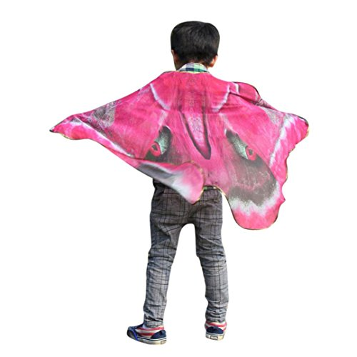 VESNIBA Child Bohemian Butterfly Print Shawl Pashmina Costume Accessory (Suit for 3-7Y Children, Hot Pink) ()
