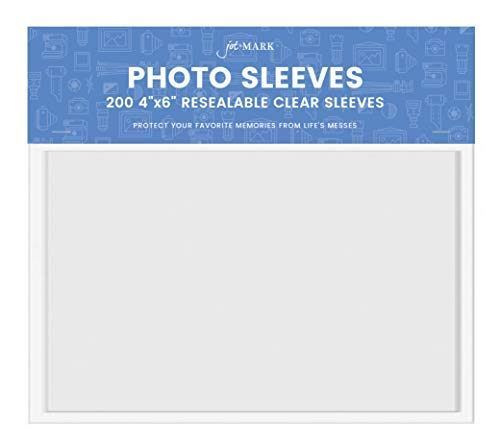 - Jot & Mark 4x6 Photo Sleeves | Crystal Clear Cello Acrylic Sleeves w/Self Adhesive Resealable Flap - Protect Photographs, Tickets, Notes, and Other Small Keepsakes (Set of 200 Sleeves)