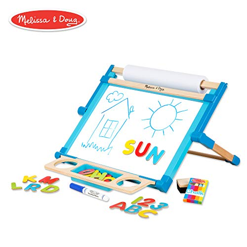 Melissa & Doug Deluxe Double-Sided Tabletop Easel (Arts & Crafts, Sturdy Wooden Construction, 42 Pieces, 17.5