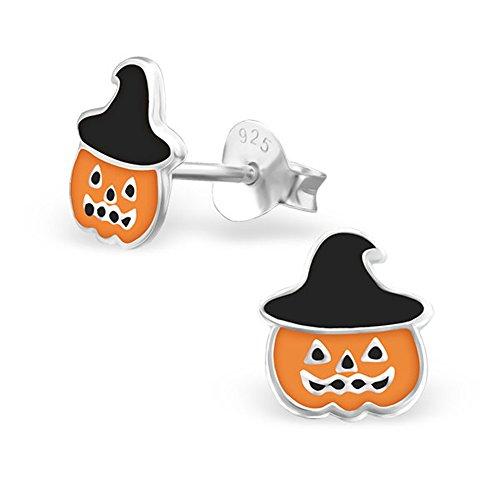 Jack O Lantern Earrings Halloween Pumpkin with Black Hat Sterling Silver Children Studs Earrings (E23871)