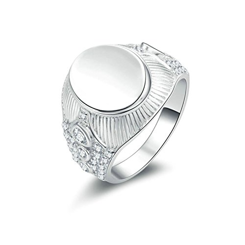 Aokarry 925 Sterling Silver Rings Engagement Silver Signet Ring Round White Cubic Zirconia Ring 7.5