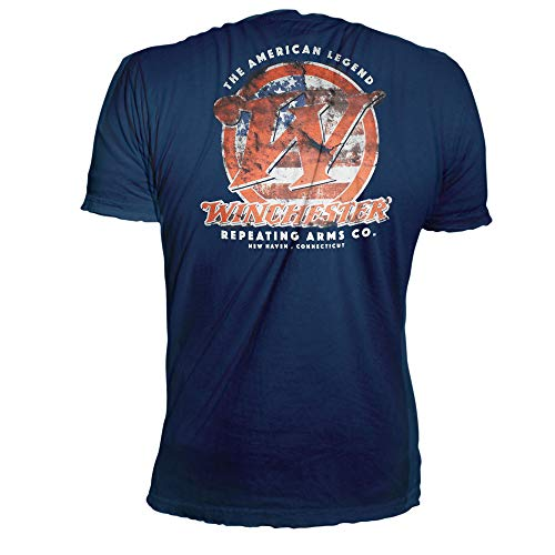 Winchester Classic Initial Logo with American Flag Vintage Style Men's Graphic T-Shirt - Clearance Sale