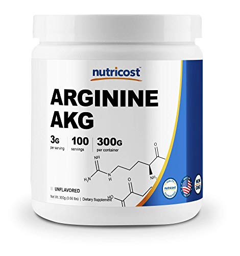 Nutricost Arginine AKG Powder 300 Grams (AAKG) - 3G Per Serving andamp; 100 Servings - Pure Arginine Alpha Ketoglutarate