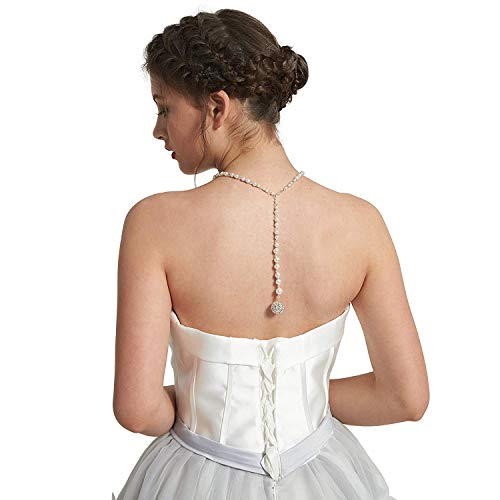 Backdrop Necklace (Skyvan Hademade Tassel Backdrop Necklace Simulated Pearl & Crystal Necklace Wedding Jewerly Backless Dress Chain)